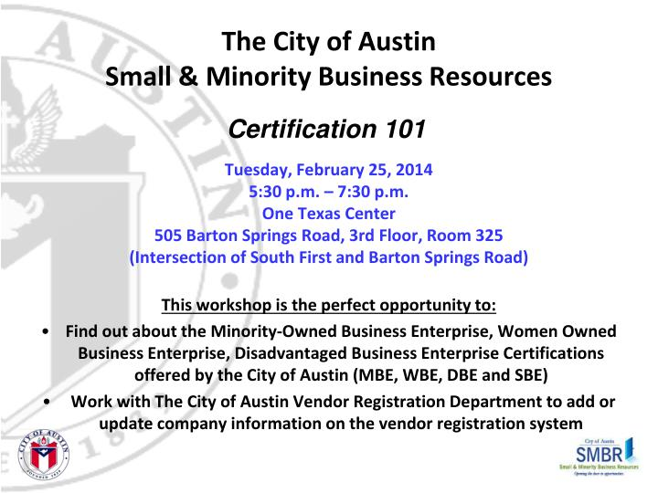 the city of austin small minority business resources n.
