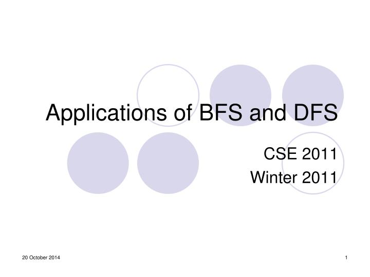 applications of bfs and dfs n.
