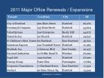2011 major office renewals expansions