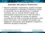 ejemplo del pasivo financiero