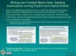 mining over football match data seeking associations among explicit and implicit events