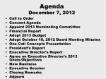 agenda december 7 2012