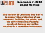 december 7 2012 board meeting
