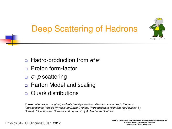 deep scattering of hadrons n.