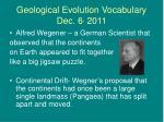 geological evolution vocabulary dec 6 2011