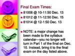 final exam times