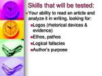 skills that will be tested