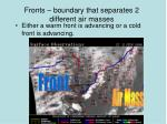 fronts boundary that separates 2 different air masses