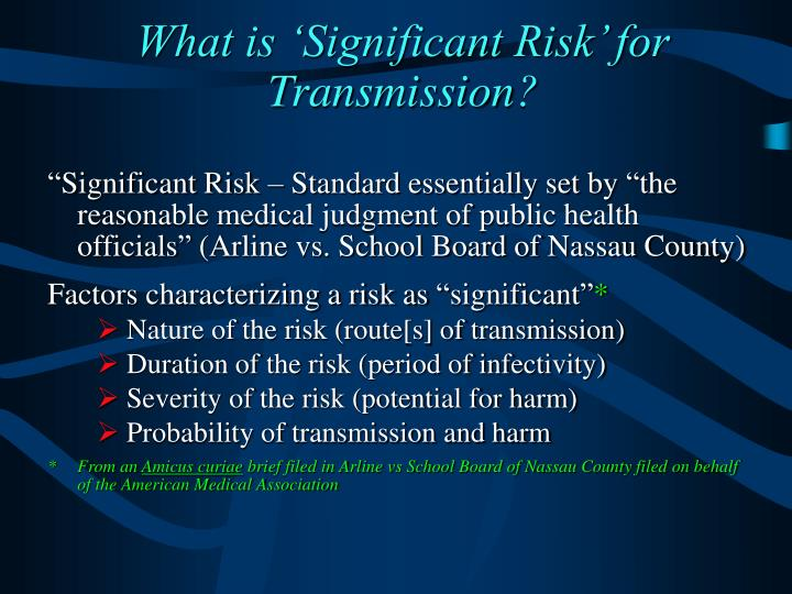 What is 'Significant Risk' for Transmission?