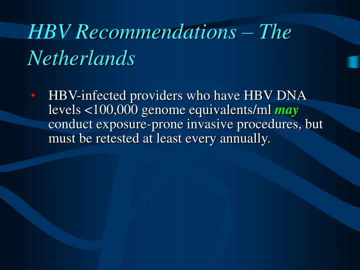 HBV Recommendations – The Netherlands