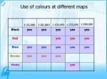 use of colours at different maps