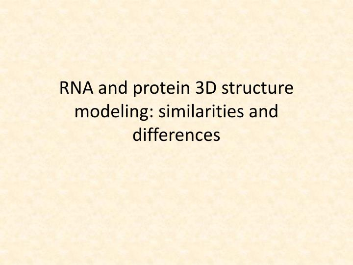 rna and protein 3d structure modeling similarities and differences n.