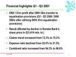 financial highlights q1 q3 2001