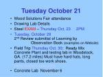 tuesday october 21