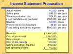 income statement preparation