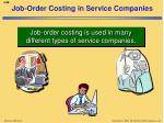 job order costing in service companies