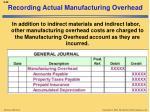 recording actual manufacturing overhead1