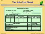 the job cost sheet