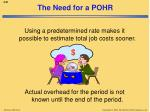 the need for a pohr