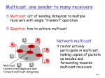 multicast one sender to many receivers