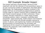 nsf example broader impact