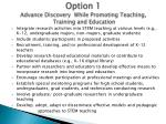 option 1 advance discovery while promoting teaching training and education