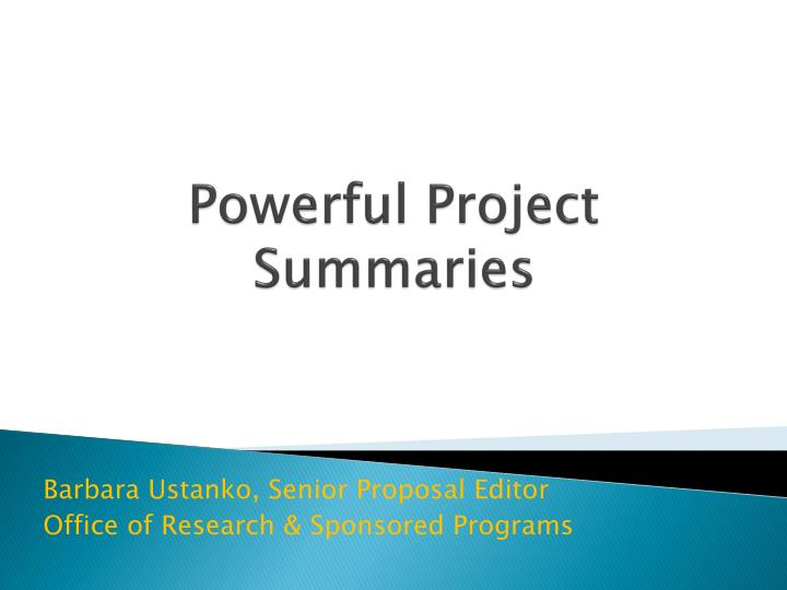 powerful project summaries n.