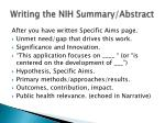writing the nih summary abstract
