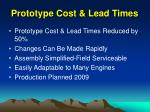 prototype cost lead times
