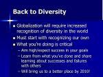 back to diversity