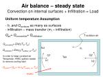 air balance steady state convection on internal surfaces infiltration load
