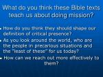 what do you think these bible texts teach us about doing mission