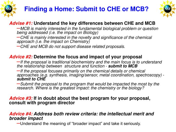 Finding a Home: Submit to CHE or MCB?