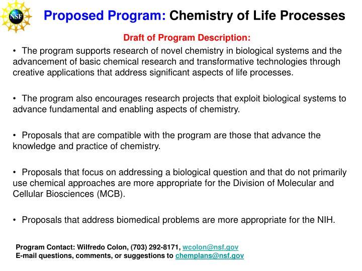Proposed Program: