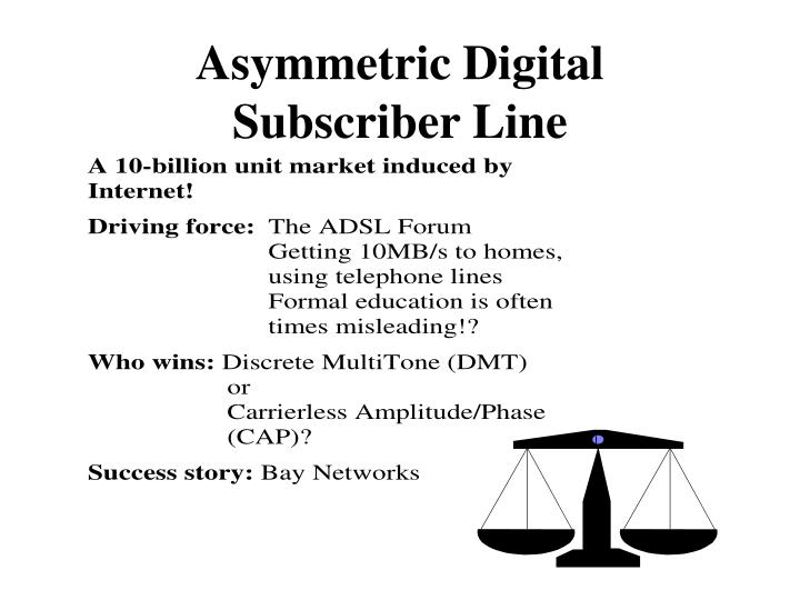 asymmetric digital subscriber line n.