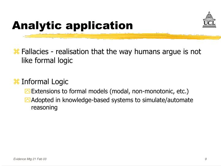 Analytic application
