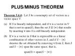 plus minus theorem