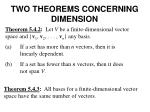 two theorems concerning dimension
