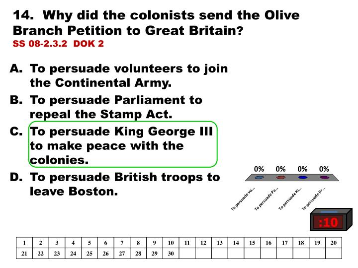14.  Why did the colonists send the Olive Branch Petition to Great Britain