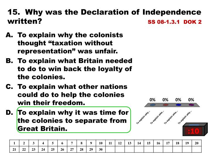 15.  Why was the Declaration of Independence written?