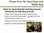 phase four re teaching and reflecting