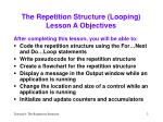 the repetition structure looping lesson a objectives