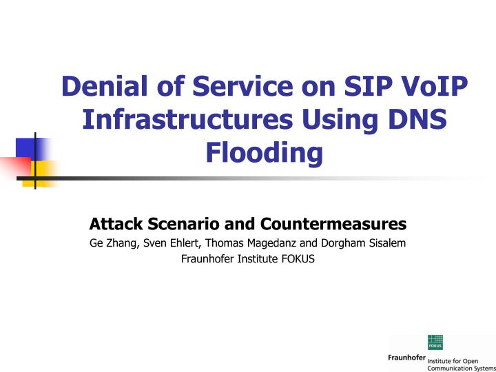 denial of service on sip voip infrastructures using dns flooding n.