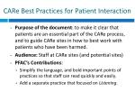 care best practices for patient interaction