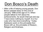 don bosco s death