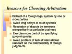 reasons for choosing arbitration