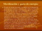 movilizaci n y gasto de energ a