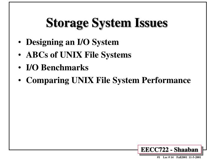 storage system issues n.
