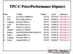 tpc c price performance tpm c
