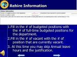 rehire information